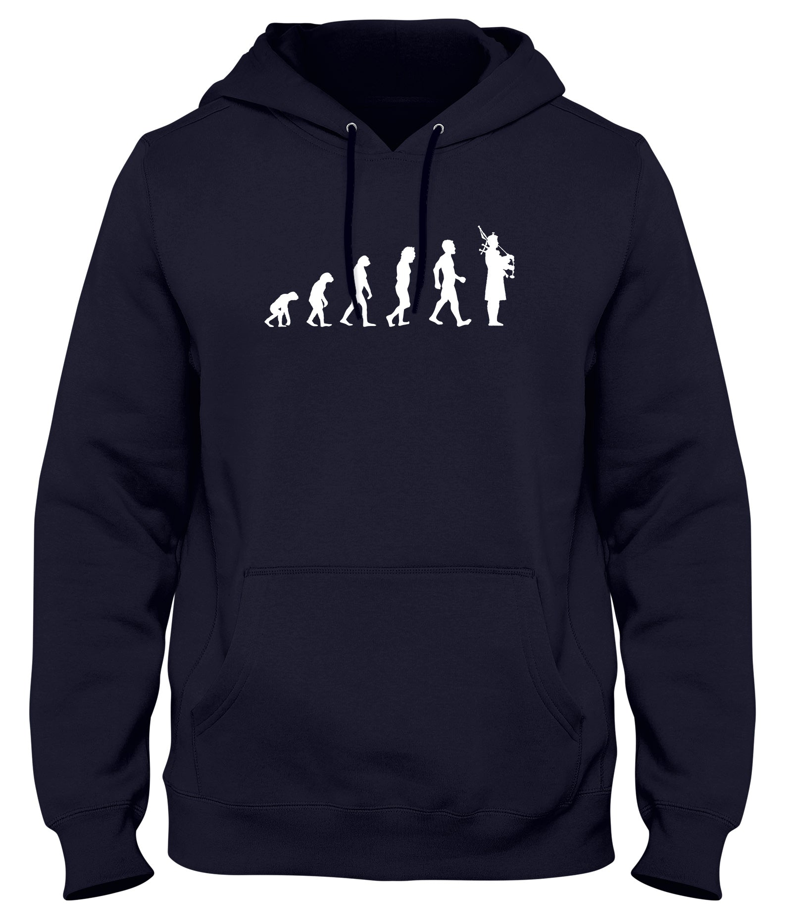 EVOLUTION OF BAGPIPES BAGPIPER MAN MENS WOMENS LADIES UNISEX FUNNY SLOGAN HOODIE