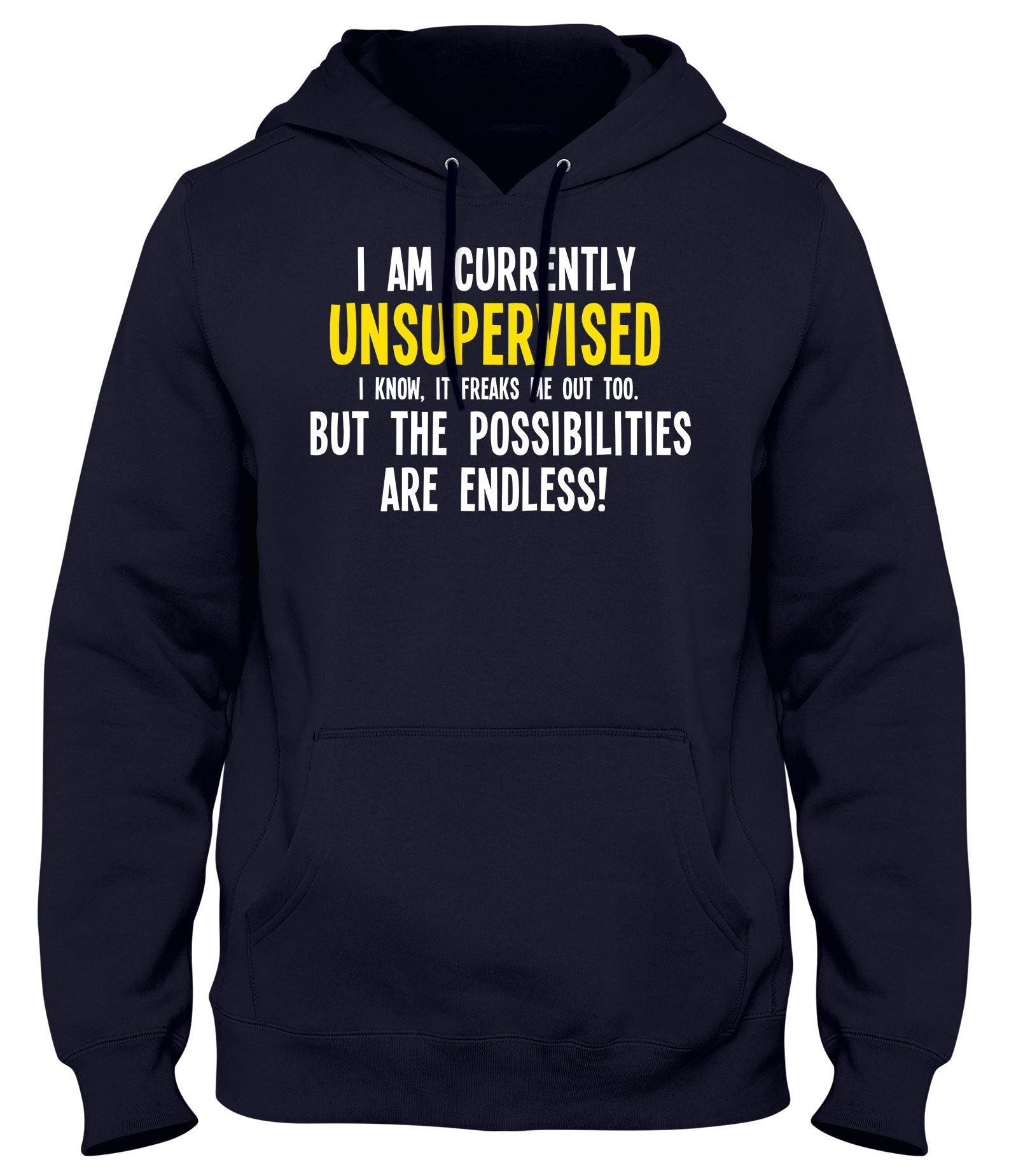 I AM CURRENTLY UNSUPERVISED THE POSSIBILITIES ARE ENDLESS! MENS WOMENS LADIES UNISEX FUNNY SLOGAN HOODIE