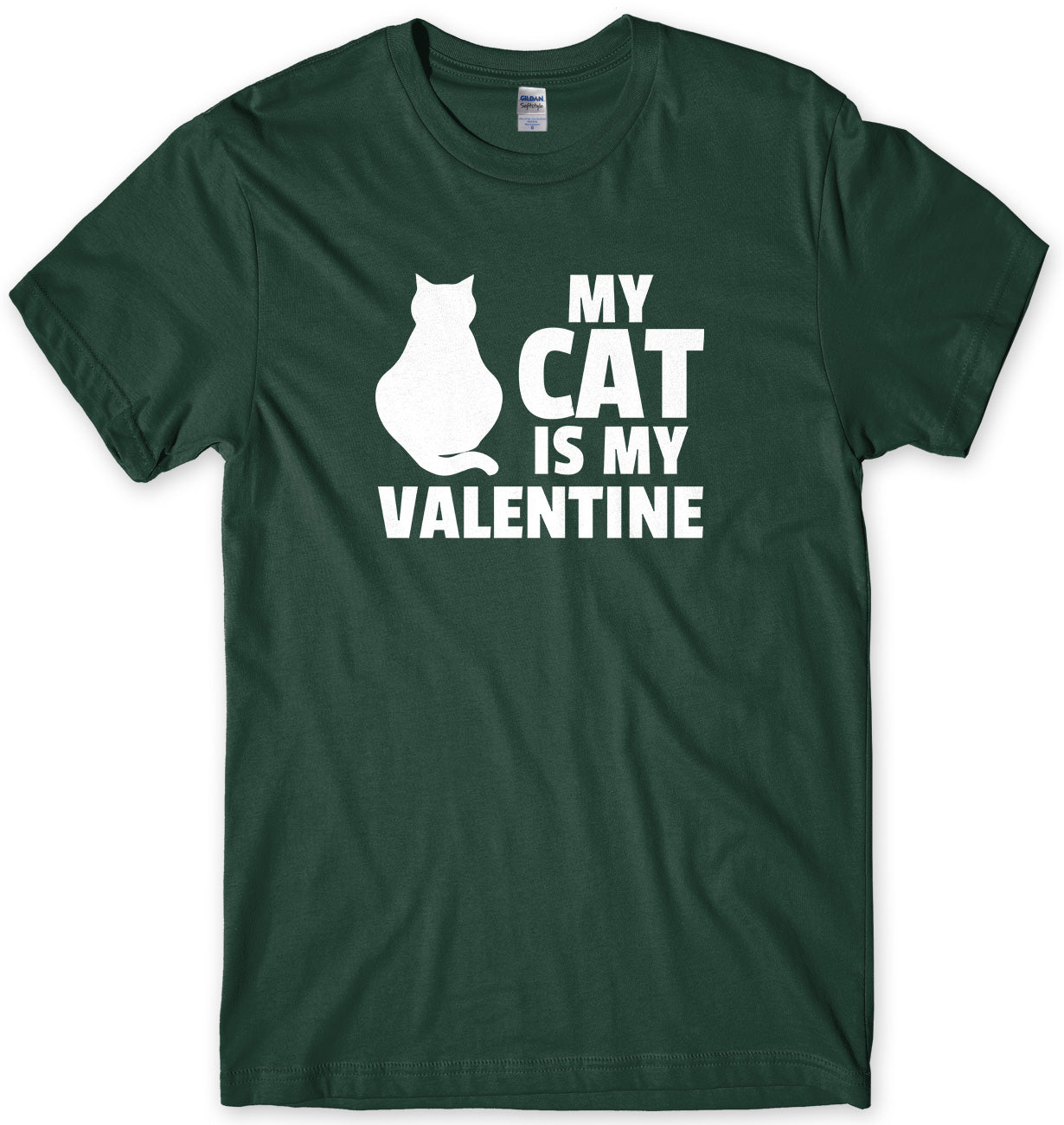 My Cat Is My Valentine Mens Unisex Style T-Shirt