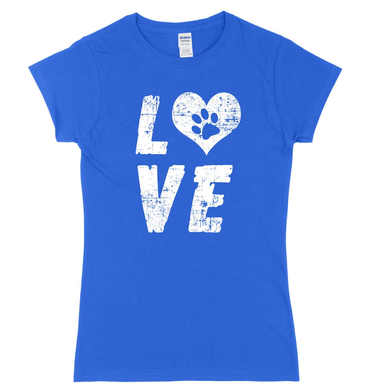 Love Dogs Paw Print Love Heart Womens Slim Fit T-Shirt