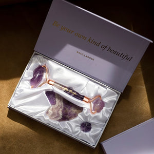 Scilla Rose Ultimate Amethyst Roller and Gua Sha Beauty Set Origins of Beauty 'Guilt Free Beauty and Wellbeing'