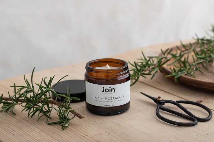 Join Apothecary Bay & Rosemary Scented Soy Wax Candle - Origins of Beauty 'Guilt Free Beauty and Wellbeing'