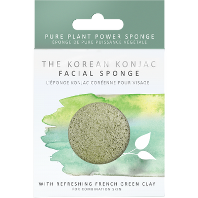 The Konjac Sponge Company Konjac Facial Puff Sponge With Green French Clay - Origins of Beauty 'Guilt Free Beauty and Wellbeing'