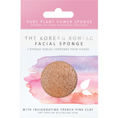 The Konjac Sponge Company Konjac Facial Puff Sponge with Pink French Clay Origins of Beauty 'Guilt Free Beauty and Wellbeing'