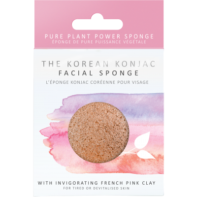 The Konjac Sponge Company Konjac Facial Puff Sponge with Pink French Clay - Origins of Beauty 'Guilt Free Beauty and Wellbeing'