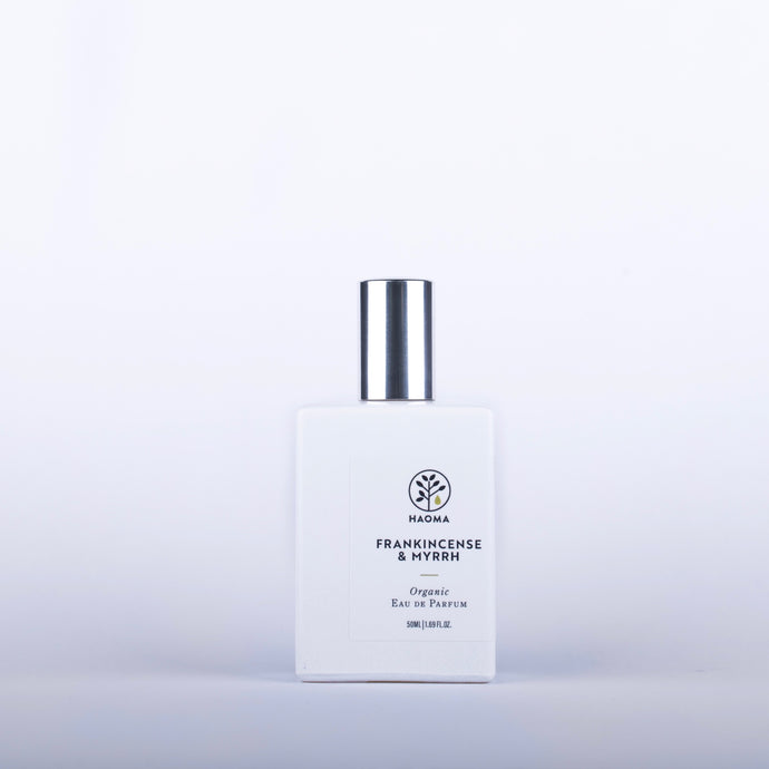 HAOMA Frankincense and Myrrh Organic Eau De Parfum - 50ml Origins of Beauty 'Guilt Free Beauty and Wellbeing'