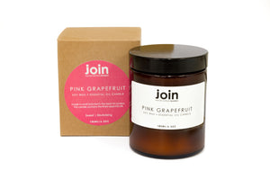 Join Apothecary Pink Grapefruit Scented Soy Wax Candle - Origins of Beauty 'Guilt Free Beauty and Wellbeing'