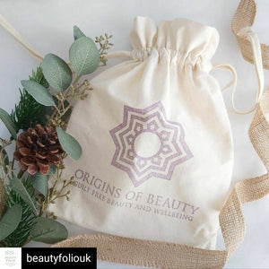Origins of Beauty Organic Cotton Bag Origins of Beauty 'Guilt Free Beauty and Wellbeing'