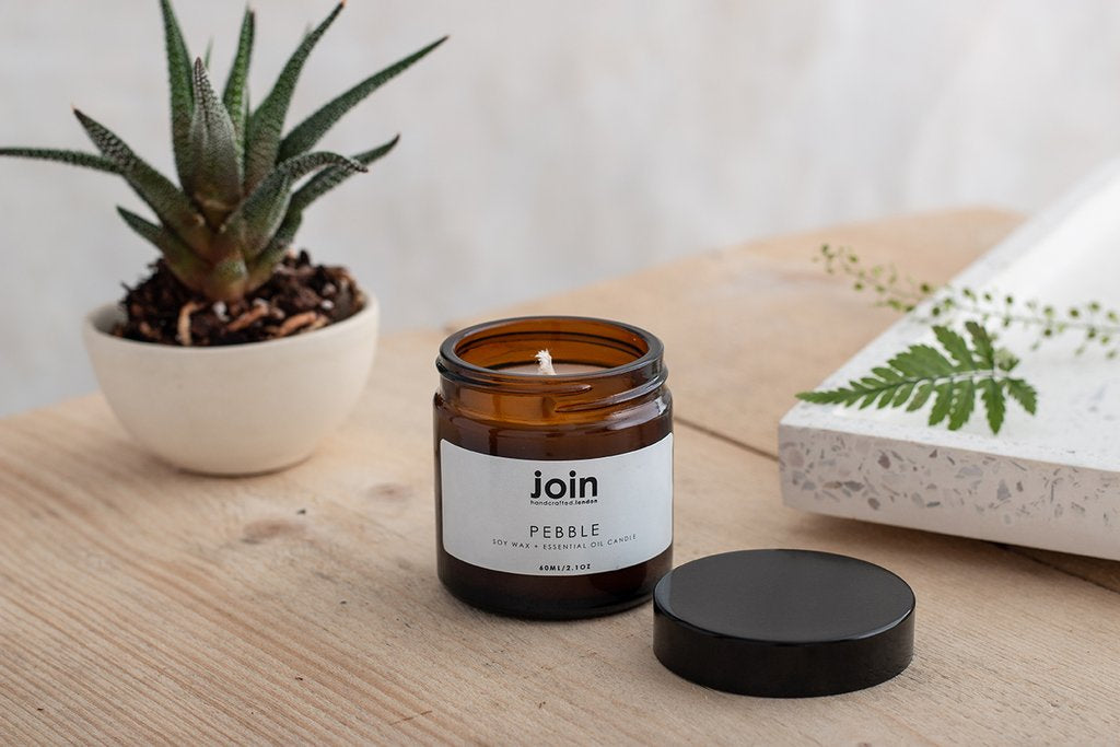 Join Apothecary Pebble Scented Soy Wax Candle - Origins of Beauty 'Guilt Free Beauty and Wellbeing'