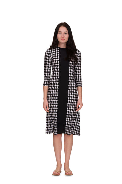 HOUNDSTOOTH DRESS WITH BLACK STRIPE