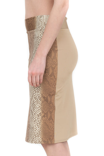 BROWN SNAKESKIN HALF N HALF PENCIL SKIRT