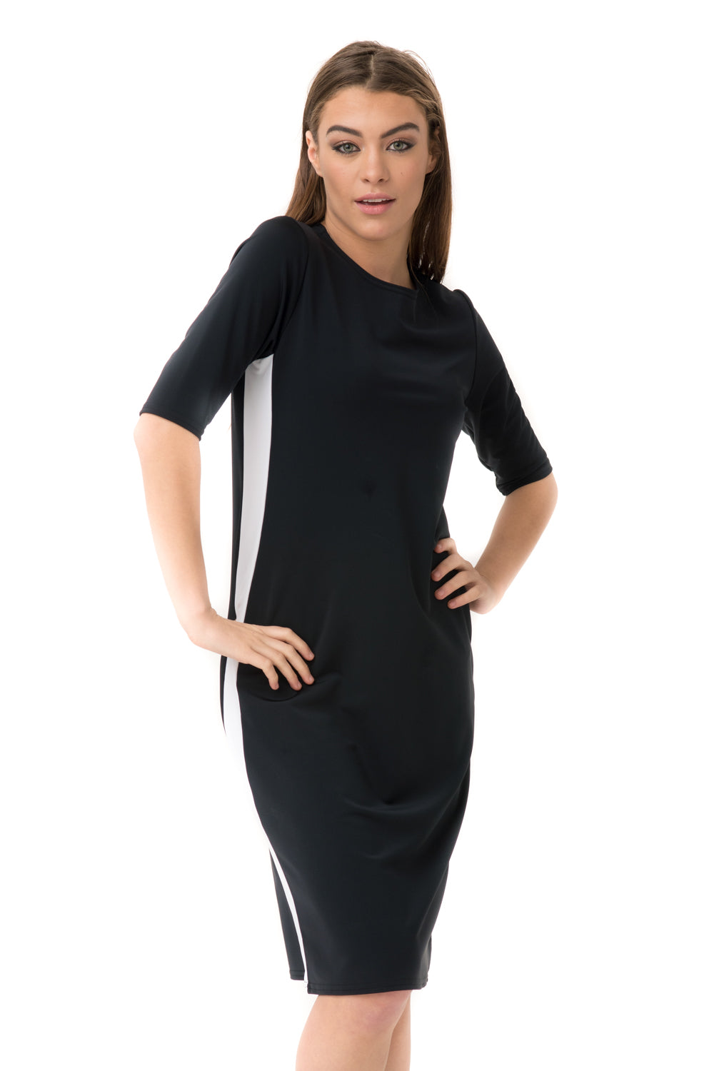 Black Racer Swim Dress