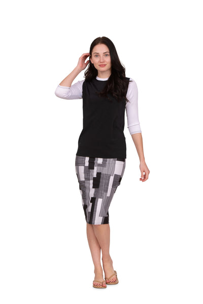 LADIES PATCHWORK PENCIL SKIRT