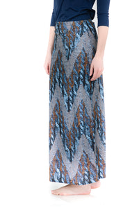 BLUE METALLIC CHEVRON MAXI