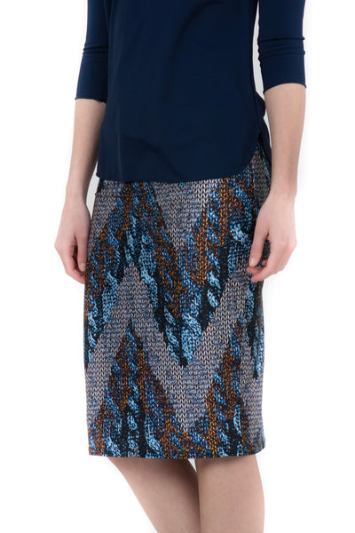 blue metallic chevron pencil skirt