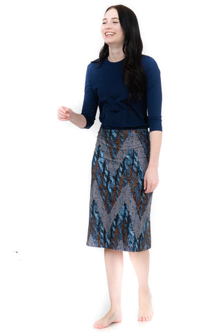 blue metallic chevron a-line skirt