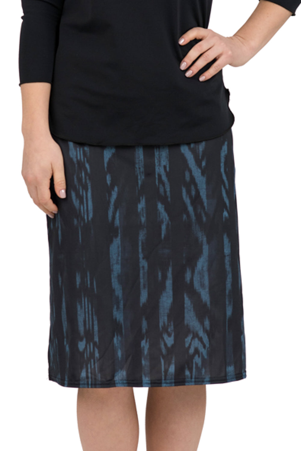 Blue Ikat A-line Skirt