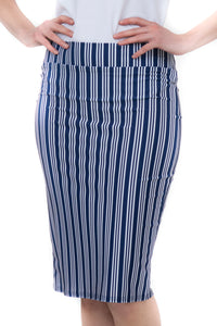 NAVY STRIPE PENCIL SKIRT
