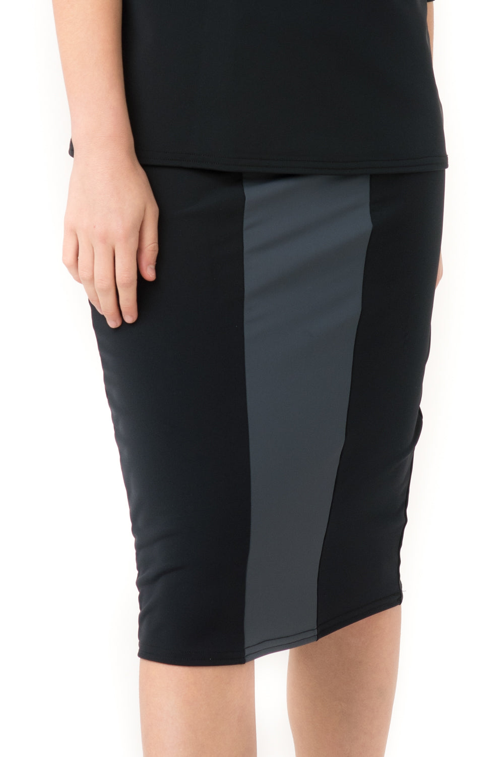 Black & Grey Pencil Swim Skirt