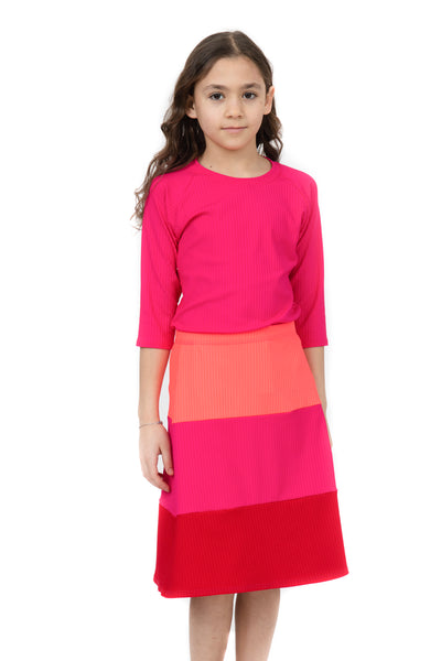 Kids Red & Orange Ribbed 2-Piece