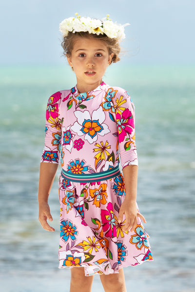 Pink Kids Floral Bathing Suit Set