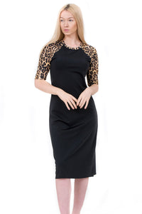 Leopard Printed Sleeve Dress
