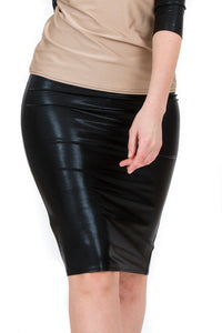 Black Metallic Pencil Skirt