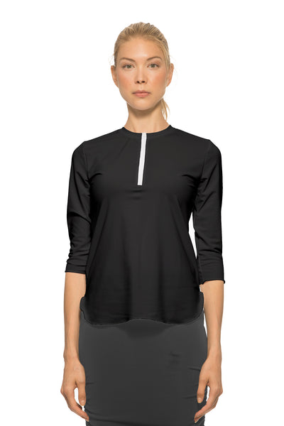 Ladies 3/4 Sleeve With Half-Zip Swim Top
