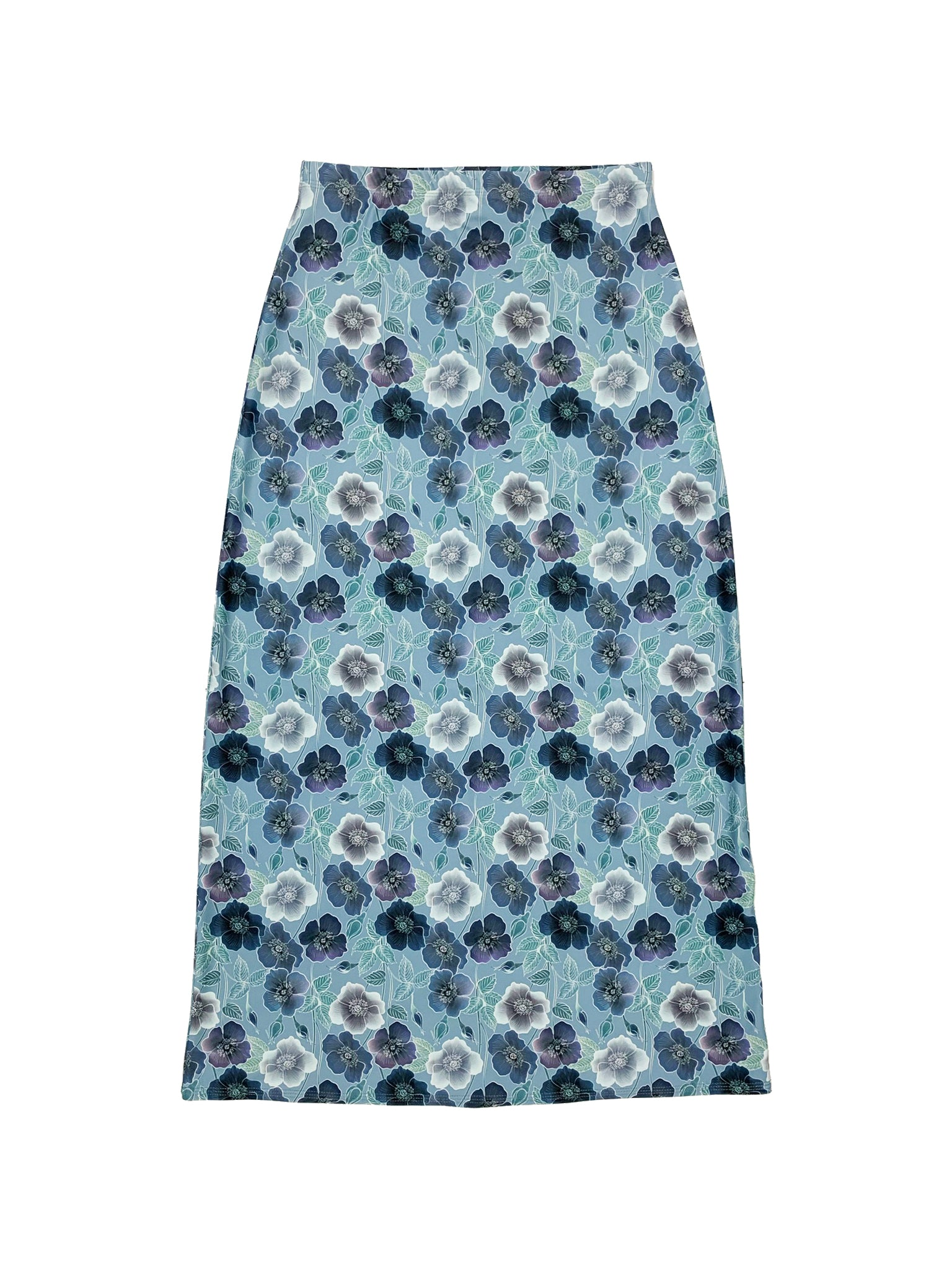 Blue Floral Maxi Swim Skirt