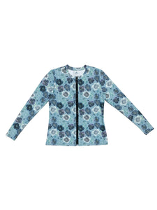Blue Floral Full Zip Swim Top