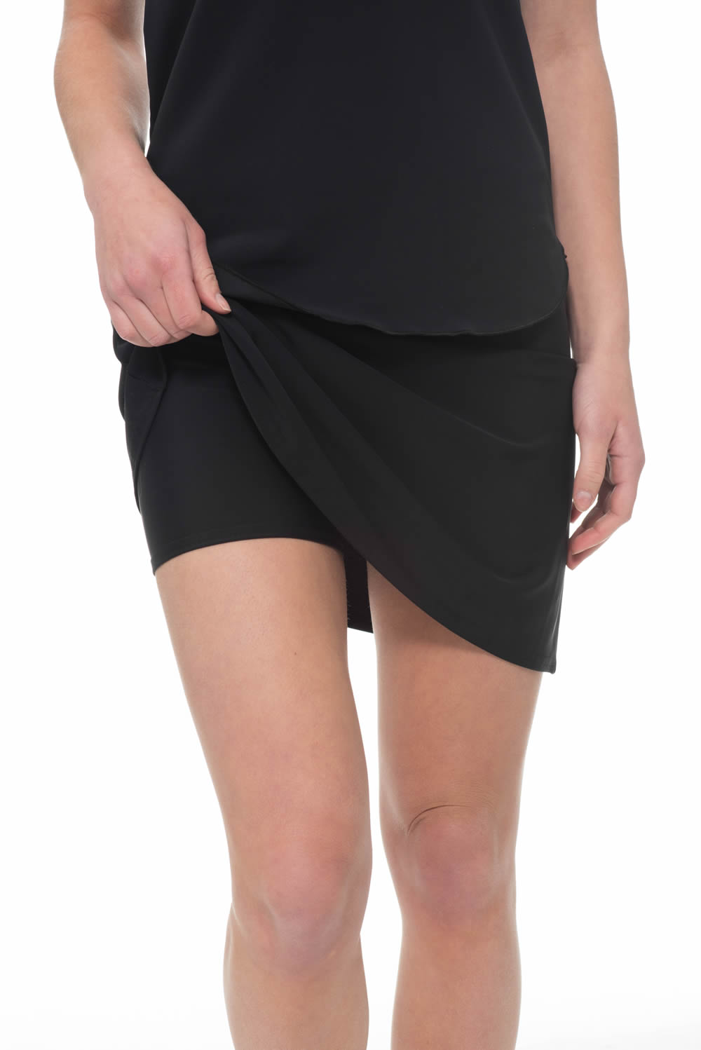 Black Mini Skirt With Shorts Attached