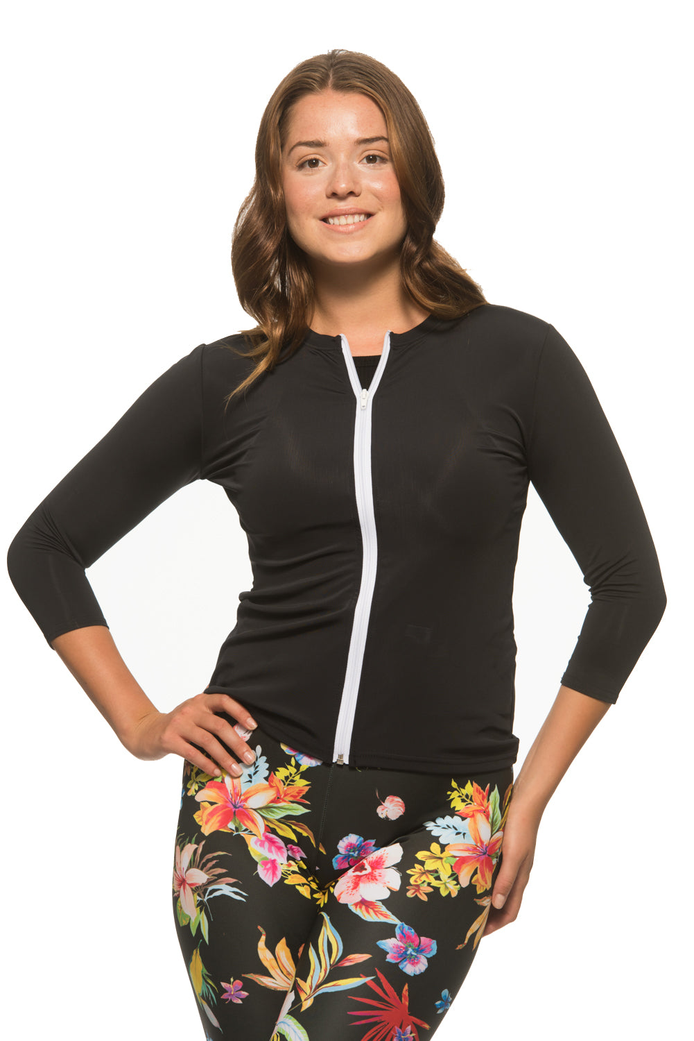 Ladies Black Swim Shirt with Full White Zipper