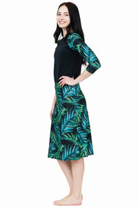 Tropical Leaves a-line skirt