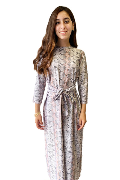 PINK SNAKESKIN MIDI TIE DRESS