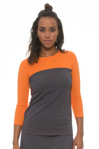 Orange BLOCK Zipper Top