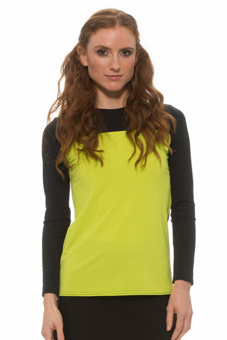 Lime BLOCK Zipper Top