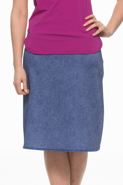 Denim A-Line Swim Skirt