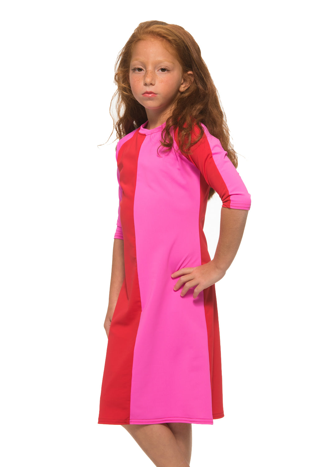 Kids Red & Pink Half & Half Dress