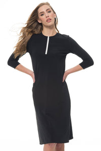 Black Half-Zip Dress