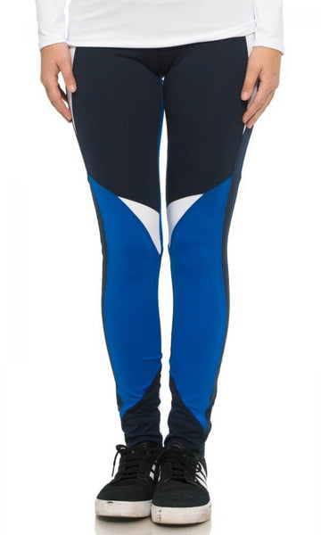 Blue Colorblock Leggings