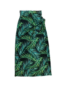 Tropical Leaves Maxi Wrap Skirt