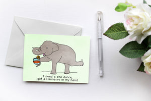 One Dance | Elephants love Drake | Greetings Card