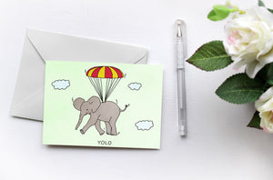 YOLO | Elephants love Drake | Greetings Card