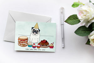 Birthday Cake {Pugs Love Riri} Greetings Card