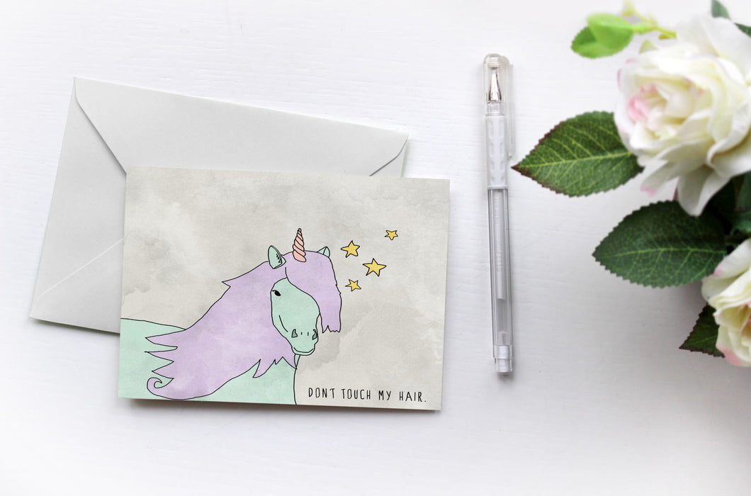 Don't Touch My Hair {Unicorns Love Solange} Greetings Card