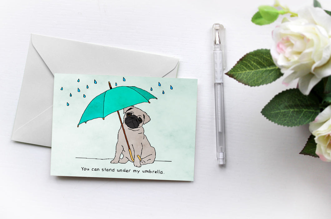 Pugs Love Riri | Umbrella | Greetings Card