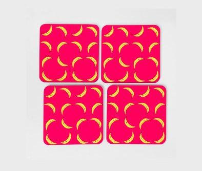 Hot Pink Banana Coaster Set (x4)