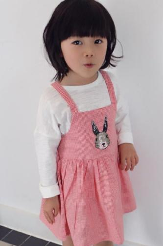 Rabbit print cotton pinafore dress, Red