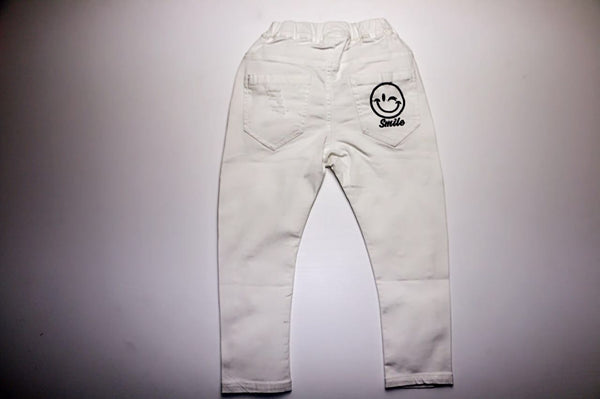Smiling face trousers, White