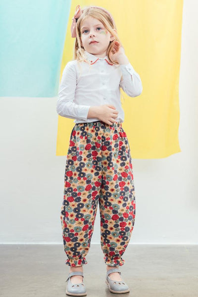 Floral embroidery girl shirt